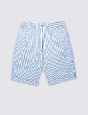 Cotton Rich Striped Swim Shorts (0-5 Years), BLUE MIX, catlanding