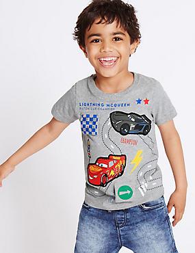 T-Shirt aus reiner Baumwolle mit Disney-Cars-Motiv (1–5 Jahre), GRAU MELIERT, catlanding