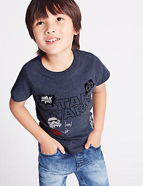 Pure Cotton Star Wars™ T-Shirt (1-5 Years), DENIM, catlanding