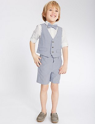 3 Piece Waistcoat & Shirt with Bow Tie (3 Months - 5 Years), BLUE MIX, catlanding