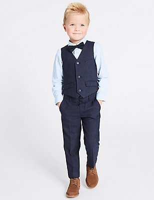4 Piece Waistcoat Trousers & Shirt with Bow Tie Outfit (1-5 Years), NAVY, catlanding