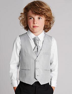 3 Piece Waistcoat, Shirt & Cravat Outfit (1-10 Years) , SILVER, catlanding