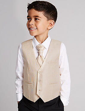 3 Piece Waistcoat & Shirt with Cravat Outfit (1-10 Years), GOLD, catlanding