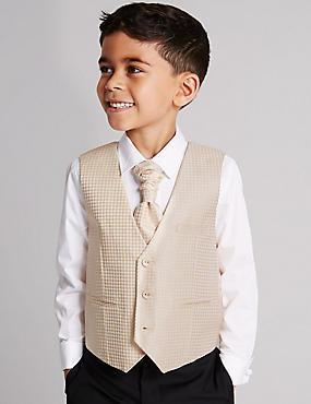 3-delige outfit van gilet, overhemd en stropdas (1-10 jaar) , GOUD, catlanding