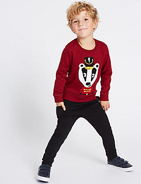 2 Piece Badger Sweatshirt & Joggers Outfit (3 Months - 6 Years), RED, catlanding