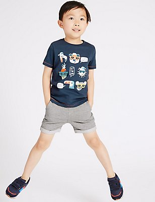 2 Piece T-Shirt & Shorts Outfit (3 Months - 5 Years), NAVY MIX, catlanding