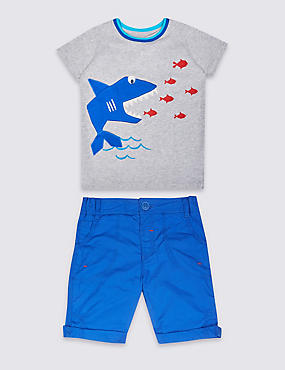 2 Piece Pure Cotton T-Shirt & Shorts Outfit (3 Months - 5 Years), BLUE MIX, catlanding
