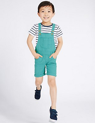 2 Piece T-Shirt & Dungarees Outfit (3 Months - 5 Years), TURQUOISE MIX, catlanding