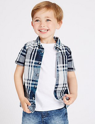 Pure Cotton Checked Shirt (3 Months - 5 Years), BLUE MIX, catlanding