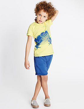 2 Piece Pure Cotton Frog Print T-Shirt & Shorts Outfit (1-7 Years), YELLOW MIX, catlanding