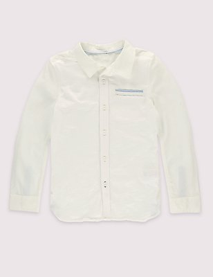 Pure Cotton Long Sleeve Shirt (3 Months - 5 Years), WHITE MIX, catlanding
