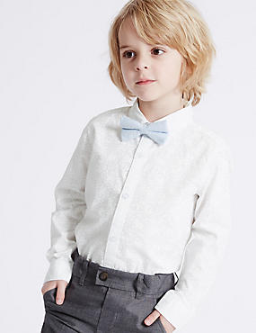 Pure Cotton Shirt with Bow Tie (3 Months - 5 Years), WHITE MIX, catlanding