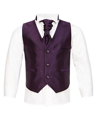 3 Piece Waistcoat, Shirt & Cravat Outfit (1-10 Years) Clothing