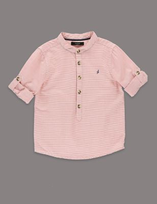 Рубашка из чистого хлопка в тонкую полоску для мальчика 1-7 лет