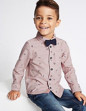 Pure Cotton All Over Print Shirt with Bow Tie (3 Months - 6 Years), MULTI, catlanding