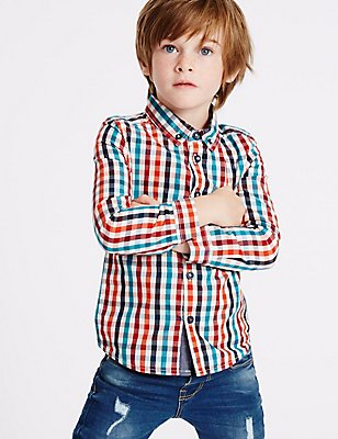 Pure Cotton Checked Shirt (3 Months - 5 Years), MULTI, catlanding