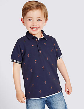 Pure Cotton Palm Print Polo Shirt (3 Months - 5 Years), DARK INDIGO MIX, catlanding