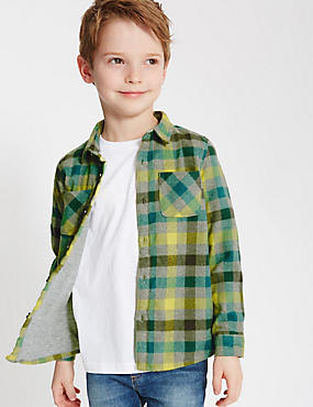 Checked Long Sleeve Shirt (1-7 Years), GREEN MIX, catlanding