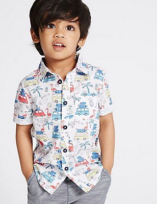 Pure Cotton All Over Print Shirt (3 Months - 5 Years), MULTI, catlanding