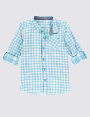 Рубашка из чистого хлопка в клетку гингам для мальчика 1-7 лет T884838S