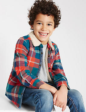 Pure Cotton Checked Shirt (1-7 Years), TEAL MIX, catlanding