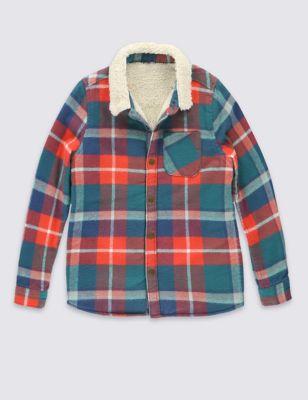 Рубашка из чистого хлопка с утеплителем для мальчика 1-7 лет T884845N