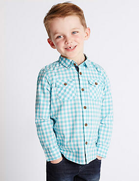 Pure Cotton Gingham Checked Shirt (1-7 Years)