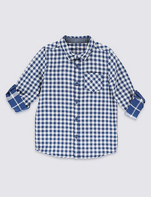 Pure Cotton Double Face Gingham Checked Shirt (1-7 Years), BLUE MIX, catlanding