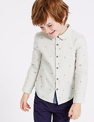 Pure Cotton All Over Print Shirt (3 Months - 5 Years), Oatmeal, catlanding