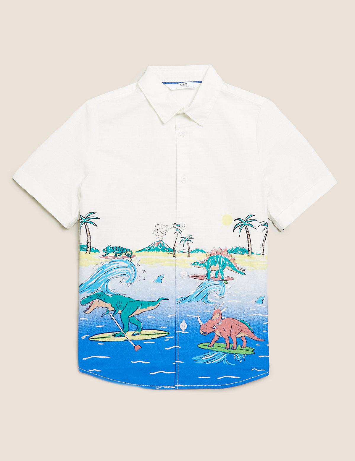 Рубашка с принтом динозавров из чистого хлопка