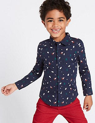 Pure Cotton All Over Santa Print Shirt (3 Months - 6 Years), NAVY MIX, catlanding