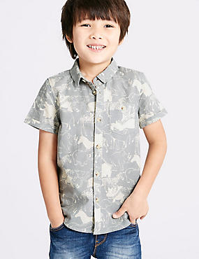 Pure Cotton Printed Shirt (3 Months - 5 Years), GREY MIX, catlanding