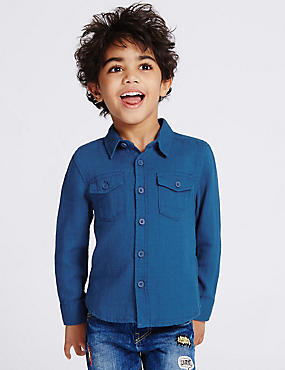 Pure Cotton Shirt (3 Months - 5 Years), BLUE, catlanding