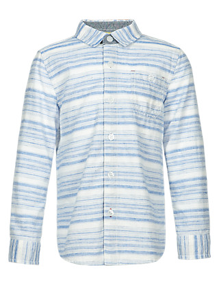 Cotton Rich Striped Shirt with Linen (1-7 Years) Clothing
