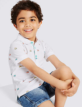 Pure Cotton Printed Polo Shirt (3 Months - 5 Years), WHITE MIX, catlanding