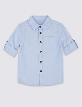 Pure Cotton Shirt (3 Months - 5 Years), BLUE, catlanding