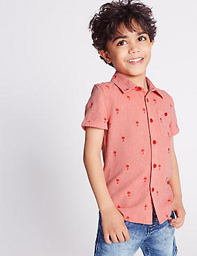 Cotton Rich Embroidered Shirt (3 Months - 5 Years), ORANGE MIX, catlanding