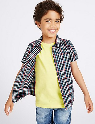 Cotton Rich Checked Shirt (3 Months - 5 Years), MULTI BLUES, catlanding