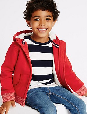 Cotton Rich Zip Through Sweatshirt (3 Months - 5 Years), RED, catlanding