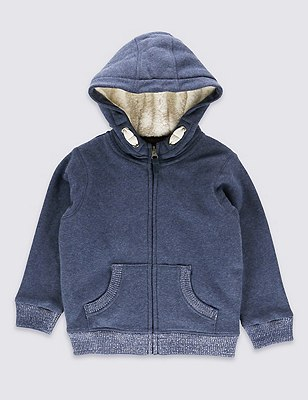 Cotton Rich Hooded Top (1-7 Years), NAVY, catlanding