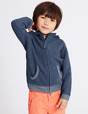 Cotton Rich Hooded Top (3 Months - 5 Years), NAVY, catlanding
