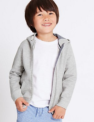 Cotton Rich Hooded Top (3 Months - 5 Years), GREY, catlanding