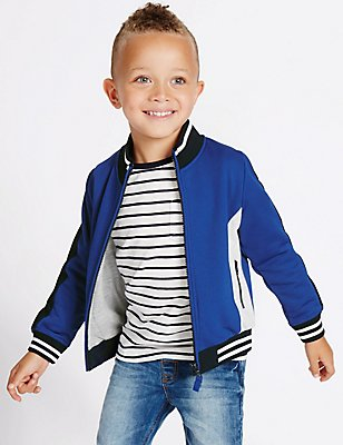 Cotton Rich Zipped Sweatshirt (3 Months - 5 Years), BLUE, catlanding