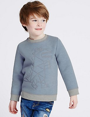 Embroidered Sweatshirt (3 Months - 5 Years), BLUE MARL, catlanding