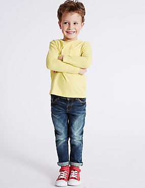 Cotton Jeans with Stretch (3 Months - 5 Years), DARK BLUE DENIM, catlanding