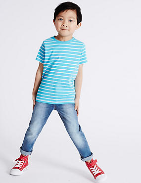 Cotton Jeans with Stretch (3 Months - 5 Years), MED BLUE DENIM, catlanding