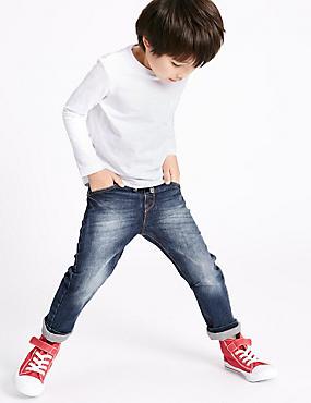 Katoenen nauwsluitende jeans met stretch en voering (3 maanden-5 jaar), DONKERBLAUW DENIM, catlanding
