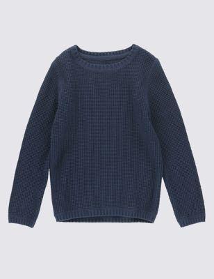 Текстурный джемпер из чистого хлопка для мальчика 1-7 лет