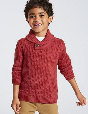 Cotton Rich Long Sleeve Jumper (3 Months - 6 Years), RED, catlanding