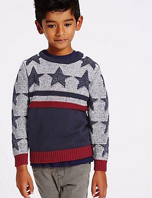 Pullover aus reiner Baumwolle mit Sternenmuster (3 Monate–5 Jahre), MEHRFARBIG, catlanding